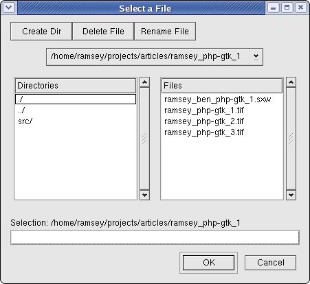 A file selection dialog