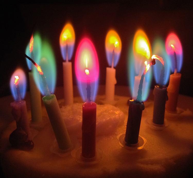 'Cool colored candles, with metal salts from our rocket propellants' by Steve Jurvetson