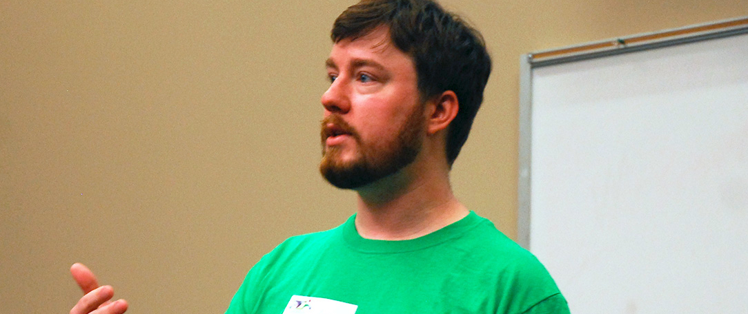 Photograph of me giving a presentation at CoderFaire Tennessee in 2012.