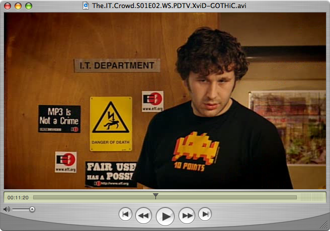 EFF Stickers in IT Crowd