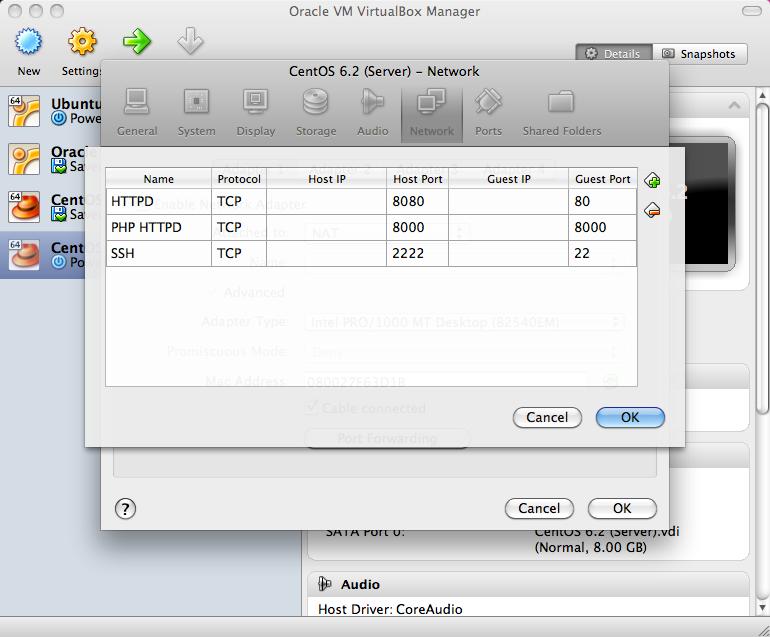 Screenshot of VirtualBox port forwarding tables